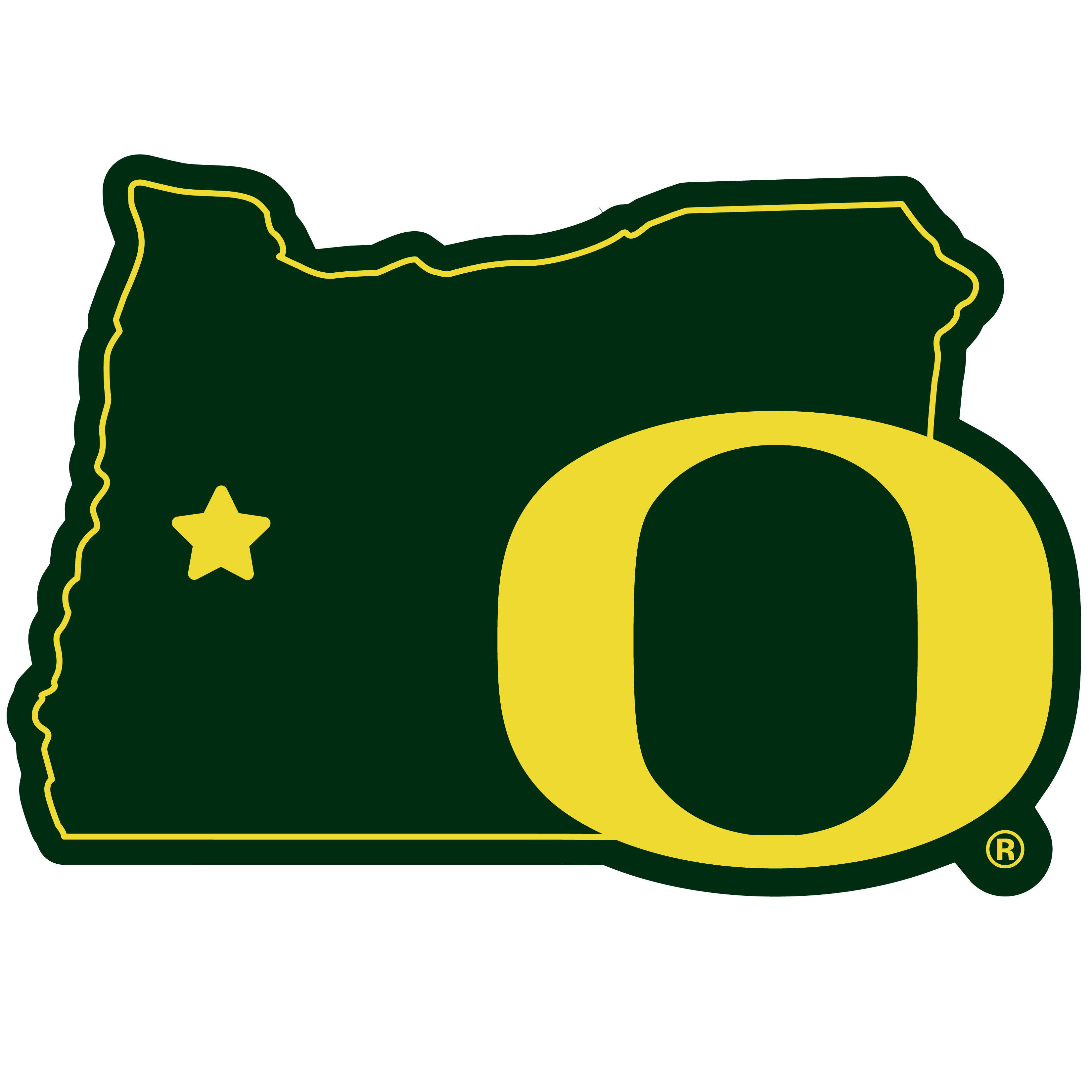 Oregon Ducks Home State 11 Inch Magnet - Whether you are caravaning to the game or having a tailgate party make sure you car is wearing its fan gear with our extra large, 11 inch Oregon Ducks home state magnets. These striking magnets can be easily placed on for game day and removed without he residue left by decals. The design features a bright state outline with the location of the team highlighted with a football and a large team logo.