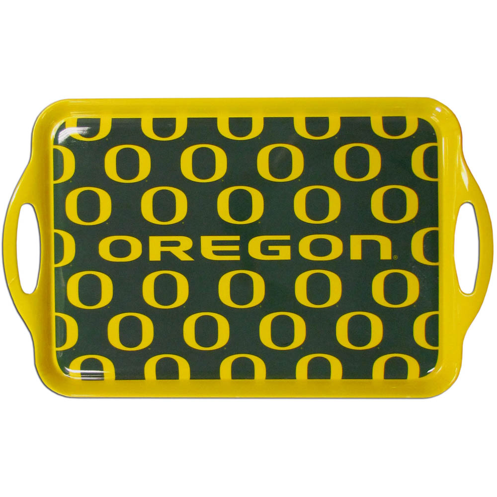 "Oregon Serving Tray - ""The college serving trays are crafted of heavy duty Melamine and are perfect for use in the kitchen or outdoors while grilling or tailgating. 11.5"""" x 19""""."""