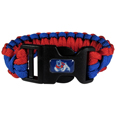 Fresno St. Bulldogs Survivor Bracelet - Our functional and fashionable Fresno St. Bulldogs survivor bracelets contain 2 individual 300lb test paracord rated cords that are each 5 feet long. The team colored cords can be pulled apart to be used in any number of emergencies and look great while worn. The bracelet features a team emblem on the clasp.