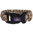 East Carolina Pirates Camo Survivor Bracelet - Our functional and fashionable East Carolina Pirates camo survivor bracelets contain 2 individual 300lb test paracord rated cords that are each 5 feet long. The camo cords can be pulled apart to be used in any number of emergencies and look great while worn. The bracelet features a team emblem on the clasp.