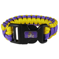 East Carolina Pirates Survivor Bracelet - Our functional and fashionable East Carolina Pirates survivor bracelets contain 2 individual 300lb test paracord rated cords that are each 5 feet long. The team colored cords can be pulled apart to be used in any number of emergencies and look great while worn. The bracelet features a team emblem on the clasp.