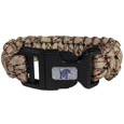 Memphis Tigers Camo Survivor Bracelet - Our functional and fashionable Memphis Tigers camo survivor bracelets contain 2 individual 300lb test paracord rated cords that are each 5 feet long. The camo cords can be pulled apart to be used in any number of emergencies and look great while worn. The bracelet features a team emblem on the clasp.