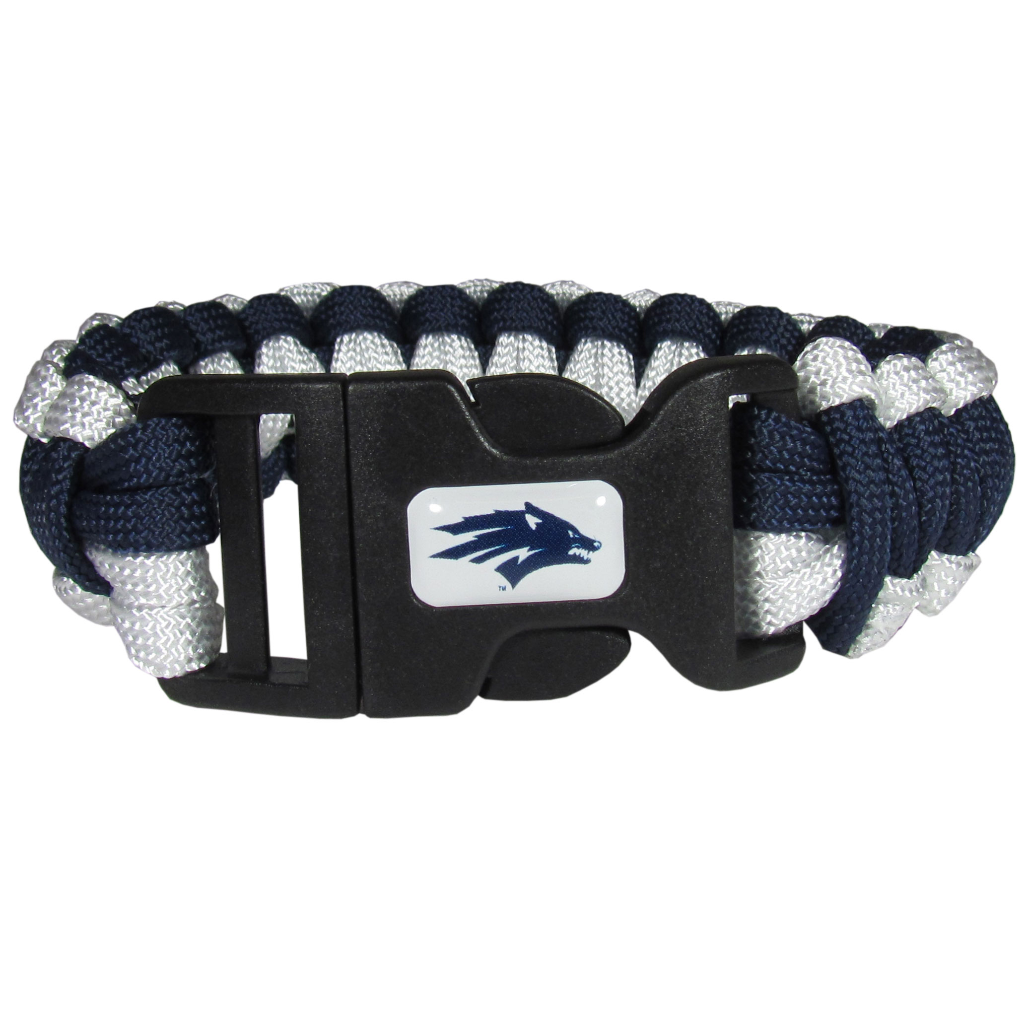 Nevada Wolf pack Survivor Bracelet - This functional and fashionable Nevada Wolf pack survivor bracelets contain 2 individual 300lb test paracord rated cords that are each 5 feet long. The team colored cords can be pulled apart to be used in any number of emergencies and look great while worn. The bracelet features a team emblem on the clasp.