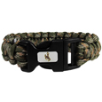 Wyoming Cowboys Camo Survivor Bracelet - Our functional and fashionable Wyoming Cowboy camo survivor bracelets contain 2 individual 300lb test paracord rated cords that are each 5 feet long. The camo cords can be pulled apart to be used in any number of emergencies and look great while worn. The bracelet features a team emblem on the clasp.