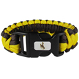 Wyoming Cowboys Survivor Bracelet - Our functional and fashionable Wyoming Cowboy survivor bracelets contain 2 individual 300lb test paracord rated cords that are each 5 feet long. The team colored cords can be pulled apart to be used in any number of emergencies and look great while worn. The bracelet features a team emblem on the clasp.