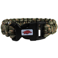 Arkansas Razorbacks Camo Survivor Bracelet - Our functional and fashionable Arkansas Razorbacks camo survivor bracelets contain 2 individual 300lb test paracord rated cords that are each 5 feet long. The camo cords can be pulled apart to be used in any number of emergencies and look great while worn. The Arkansas Razorbacks Camo Survivor bracelet features a team emblem on the clasp.  Thank you for shopping with CrazedOutSports.com