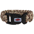 Arkansas Razorbacks Camo Survivor Bracelet - Our functional and fashionable Arkansas Razorbacks camo survivor bracelets contain 2 individual 300lb test paracord rated cords that are each 5 feet long. The Arkansas Razorbacks Camo Survivor Bracelet camo cords can be pulled apart to be used in any number of emergencies and look great while worn. The bracelet features a team emblem on the clasp.  Thank you for shopping with CrazedOutSports.com