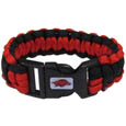 Arkansas Razorbacks Survivor Bracelet - Our functional and fashionable Arkansas Razorbacks survivor bracelets contain 2 individual 300lb test paracord rated cords that are each 5 feet long. The Arkansas Razorbacks Survivor Bracelet team colored cords can be pulled apart to be used in any number of emergencies and look great while worn. The bracelet features a team emblem on the clasp. Thank you for shopping with CrazedOutSports.com