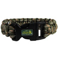 N. Dakota St. Bison Camo Survivor Bracelet - Our functional and fashionable N. Dakota St. Bison camo survivor bracelets contain 2 individual 300lb test paracord rated cords that are each 5 feet long. The camo cords can be pulled apart to be used in any number of emergencies and look great while worn. The bracelet features a team emblem on the clasp.