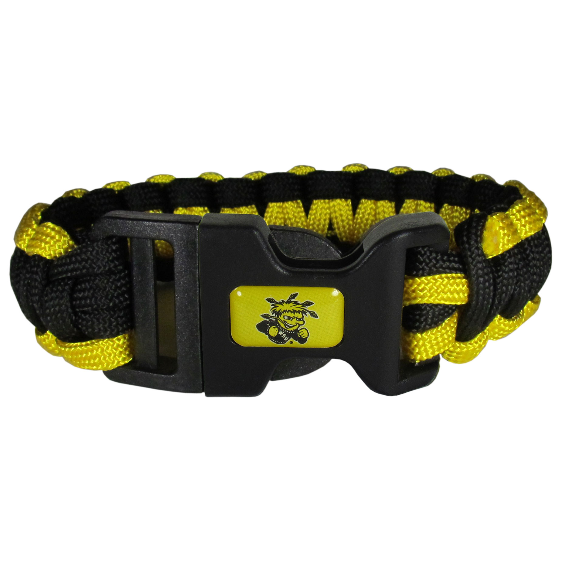 Wichita St. Shockers Survivor Bracelet - Our functional and fashionable Wichita St. Shockers survivor bracelets contain 2 individual 300lb test paracord rated cords that are each 5 feet long. The team colored cords can be pulled apart to be used in any number of emergencies and look great while worn. The bracelet features a team emblem on the clasp.