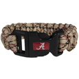 Alabama Crimson Tide Camo Survivor Bracelet - Our functional and fashionable Alabama Crimson Tide camo survivor bracelets contain 2 individual 300lb test paracord rated cords that are each 5 feet long. The camo cords can be pulled apart to be used in any number of emergencies and look great while worn. The bracelet features a team emblem on the clasp.  Thank you for shopping with CrazedOutSports.com