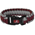 Alabama Crimson Tide Survivor Bracelet - Our functional and fashionable Alabama Crimson Tide survivor bracelets contain 2 individual 300lb test paracord rated cords that are each 5 feet long. The team colored cords can be pulled apart to be used in any number of emergencies and look great while worn. The bracelet features a team emblem on the clasp. Thank you for shopping with CrazedOutSports.com