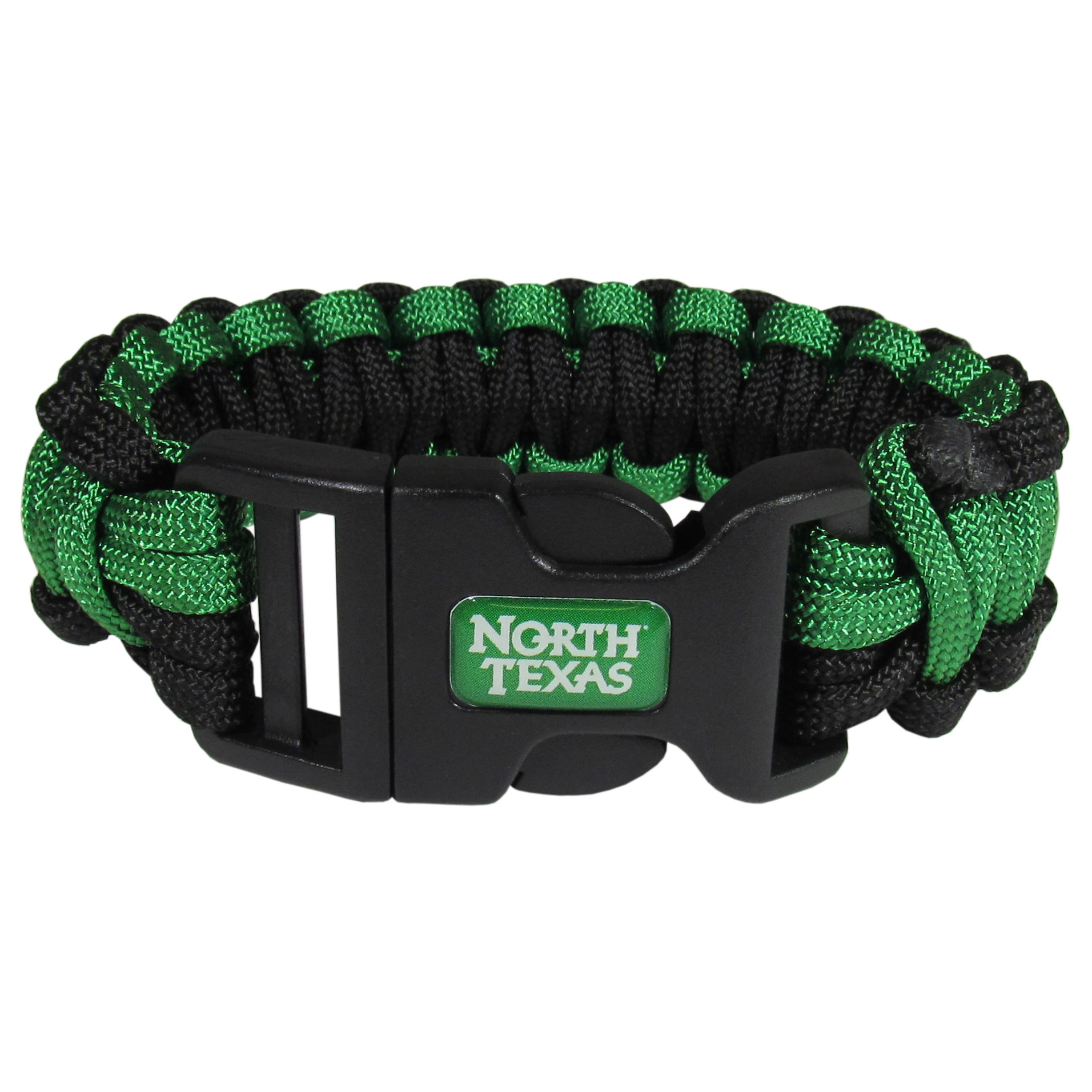 North Texas Mean Green Survivor Bracelet - Our functional and fashionable North Texas Mean Green survivor bracelets contain 2 individual 300lb test paracord rated cords that are each 5 feet long. The team colored cords can be pulled apart to be used in any number of emergencies and look great while worn. The bracelet features a team emblem on the clasp.