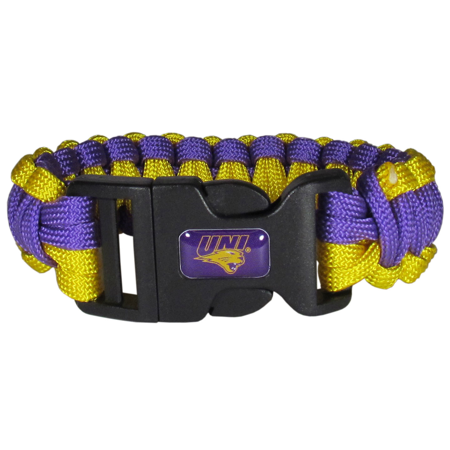 Northern Iowa Panthers Survivor Bracelet - Our functional and fashionable Northern Iowa Panthers survivor bracelets contain 2 individual 300lb test paracord rated cords that are each 5 feet long. The team colored cords can be pulled apart to be used in any number of emergencies and look great while worn. The bracelet features a team emblem on the clasp.