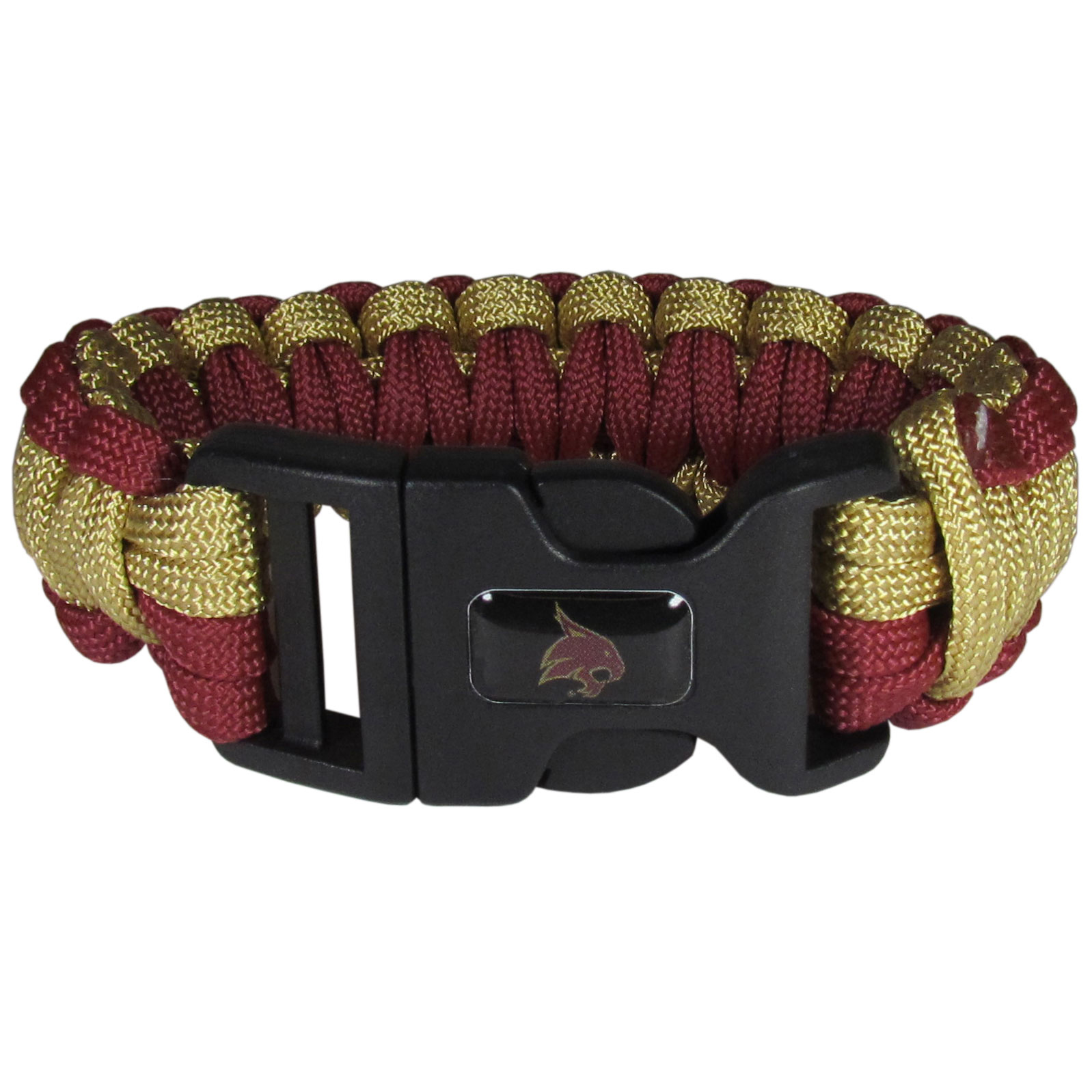 Texas St. Bobcats Survivor Bracelet - Our functional and fashionable Texas St. Bobcats survivor bracelets contain 2 individual 300lb test paracord rated cords that are each 5 feet long. The team colored cords can be pulled apart to be used in any number of emergencies and look great while worn. The bracelet features a team emblem on the clasp.
