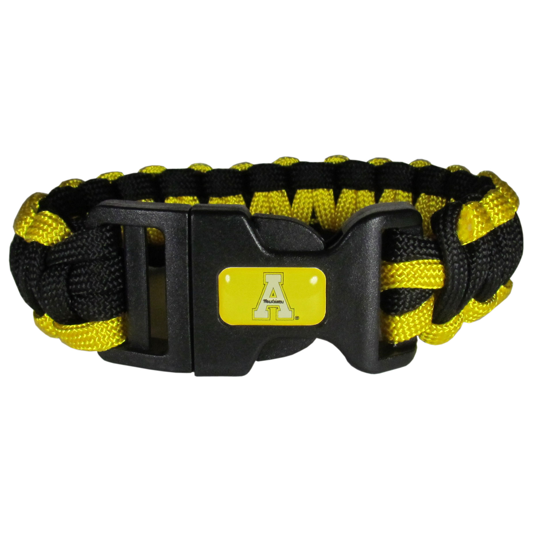 Appalachian St. Mountaineers Survivor Bracelet - Our functional and fashionable Appalachian St. Mountaineers survivor bracelets contain 2 individual 300lb test paracord rated cords that are each 5 feet long. The team colored cords can be pulled apart to be used in any number of emergencies and look great while worn. The bracelet features a team emblem on the clasp.