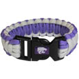 Kansas St. Wildcats Survivor Bracelet - Our functional and fashionable Kansas St. Wildcats survivor bracelets contain 2 individual 300lb test paracord rated cords that are each 5 feet long. The Kansas St. Wildcats Survivor Bracelet team colored cords can be pulled apart to be used in any number of emergencies and look great while worn. The bracelet features a team emblem on the clasp. Thank you for shopping with CrazedOutSports.com