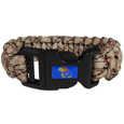 Kansas Jayhawks Camo Survivor Bracelet - Our functional and fashionable Kansas Jayhawks camo survivor bracelets contain 2 individual 300lb test paracord rated cords that are each 5 feet long. The camo cords can be pulled apart to be used in any number of emergencies and look great while worn. The Kansas Jayhawks Camo Survivor Bracelet features a team emblem on the clasp.  Thank you for shopping with CrazedOutSports.com