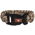 Texas Longhorns Camo Survivor Bracelet - Our functional and fashionable Texas Longhorns camo survivor bracelets contain 2 individual 300lb test paracord rated cords that are each 5 feet long. The camo cords can be pulled apart to be used in any number of emergencies and look great while worn. The bracelet features a team emblem on the clasp.  Thank you for shopping with CrazedOutSports.com