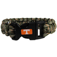 Tennessee Volunteers Camo Survivor Bracelet - Our functional and fashionable Tennessee Volunteers camo survivor bracelets contain 2 individual 300lb test paracord rated cords that are each 5 feet long. The camo cords can be pulled apart to be used in any number of emergencies and look great while worn. The bracelet features a team emblem on the clasp.  Thank you for shopping with CrazedOutSports.com