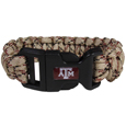Texas A and M Aggies Camo Survivor Bracelet - Our functional and fashionable Texas A & M Aggies camo survivor bracelets contain 2 individual 300lb test paracord rated cords that are each 5 feet long. The camo cords can be pulled apart to be used in any number of emergencies and look great while worn. The bracelet features a team emblem on the clasp.  Thank you for shopping with CrazedOutSports.com