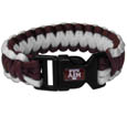 Texas A and M Aggies Survivor Bracelet - Our functional and fashionable Texas A & M Aggies survivor bracelets contain 2 individual 300lb test paracord rated cords that are each 5 feet long. The team colored cords can be pulled apart to be used in any number of emergencies and look great while worn. The bracelet features a team emblem on the clasp. Thank you for shopping with CrazedOutSports.com