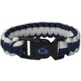 Penn St. Nittany Lions Survivor Bracelet - Our functional and fashionable Penn St. Nittany Lions survivor bracelets contain 2 individual 300lb test paracord rated cords that are each 5 feet long. The team colored cords can be pulled apart to be used in any number of emergencies and look great while worn. The bracelet features a team emblem on the clasp. Thank you for shopping with CrazedOutSports.com