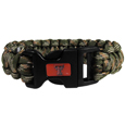 Texas Tech Raiders Camo Survivor Bracelet - Our functional and fashionable Texas Tech Raiders camo survivor bracelets contain 2 individual 300lb test paracord rated cords that are each 5 feet long. The camo cords can be pulled apart to be used in any number of emergencies and look great while worn. The bracelet features a team emblem on the clasp.  Thank you for shopping with CrazedOutSports.com