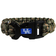 Kentucky Wildcats Camo Survivor Bracelet - Our functional and fashionable Kentucky Wildcats camo survivor bracelets contain 2 individual 300lb test paracord rated cords that are each 5 feet long. The camo cords can be pulled apart to be used in any number of emergencies and look great while worn. The bracelet features a team emblem on the clasp.  Thank you for shopping with CrazedOutSports.com