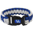 Kentucky Wildcats Survivor Bracelet - Our functional and fashionable Kentucky Wildcats survivor bracelets contain 2 individual 300lb test paracord rated cords that are each 5 feet long. The team colored cords can be pulled apart to be used in any number of emergencies and look great while worn. The bracelet features a team emblem on the clasp. Thank you for shopping with CrazedOutSports.com