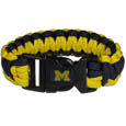 Michigan Wolverines Survivor Bracelet - This functional and fashionable Michigan Wolverines survivor bracelet contain 2 individual 300lb test paracord rated cords that are each 5 feet long. The Michigan Wolverines Survivor Bracelet has team colored cords can be pulled apart to be used in any number of emergencies and look great while worn. The Michigan Wolverines Survivor Bracelet features a team emblem on the clasp. Thank you for shopping with CrazedOutSports.com
