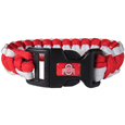 Ohio St. Buckeyes Survivor Bracelet - Our functional and fashionable Ohio St. Buckeyes survivor bracelets contain 2 individual 300lb test paracord rated cords that are each 5 feet long. The team colored cords can be pulled apart to be used in any number of emergencies and look great while worn. The bracelet features a team emblem on the clasp. Thank you for shopping with CrazedOutSports.com