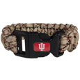 Indiana Hoosiers Camo Survivor Bracelet - Our functional and fashionable Indiana Hoosiers camo survivor bracelets contain 2 individual 300lb test paracord rated cords that are each 5 feet long. The camo cords can be pulled apart to be used in any number of emergencies and look great while worn. The bracelet features a team emblem on the clasp.
