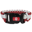 Indiana Hoosiers Survivor Bracelet - Our functional and fashionable Indiana Hoosiers survivor bracelets contain 2 individual 300lb test paracord rated cords that are each 5 feet long. The team colored cords can be pulled apart to be used in any number of emergencies and look great while worn. The bracelet features a team emblem on the clasp.