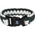 Michigan St. Spartans Survivor Bracelet - This functional and fashionable Michigan St. Spartans Survivor Bracelet contains 2 individual 300lb test paracord rated cords that are each 5 feet long. The Michigan St. Spartans Survivor Bracelet has team colored cords can be pulled apart to be used in any number of emergencies and look great while worn. The Michigan St. Spartans Survivor Bracelet features a team emblem on the clasp. Thank you for shopping with CrazedOutSports.com