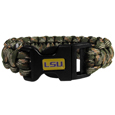 LSU Tigers Camo Survivor Bracelet - This functional and fashionable LSU Tigers camo survivor bracelet contain 2 individual 300lb test paracord rated cords that are each 5 feet long. The LSU Tigers Camo Survivor Bracelet camo cords can be pulled apart to be used in any number of emergencies and look great while worn. The LSU Tigers Camo Survivor Bracelet features a team emblem on the clasp.  Thank you for shopping with CrazedOutSports.com