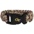 Georgia Tech Yellow Jackets Camo Survivor Bracelet - Our functional and fashionable Georgia Tech Yellow Jackets camo survivor bracelets contain 2 individual 300lb test paracord rated cords that are each 5 feet long. The camo cords can be pulled apart to be used in any number of emergencies and look great while worn. The bracelet features a team emblem on the clasp.  Thank you for shopping with CrazedOutSports.com