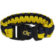 Georgia Tech Yellow Jackets Survivor Bracelet - Our functional and fashionable Georgia Tech Yellow Jackets survivor bracelets contain 2 individual 300lb test paracord rated cords that are each 5 feet long. The team colored cords can be pulled apart to be used in any number of emergencies and look great while worn. The bracelet features a team emblem on the clasp. Thank you for shopping with CrazedOutSports.com