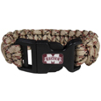 Mississippi St. Bulldogs Camo Survivor Bracelet - Our functional and fashionable Mississippi St. Bulldogs camo survivor bracelets contain 2 individual 300lb test paracord rated cords that are each 5 feet long. The camo cords can be pulled apart to be used in any number of emergencies and look great while worn. The bracelet features a team emblem on the clasp.
