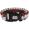 Mississippi St. Bulldogs Survivor Bracelet - Our functional and fashionable Mississippi St. Bulldogs survivor bracelets contain 2 individual 300lb test paracord rated cords that are each 5 feet long. The team colored cords can be pulled apart to be used in any number of emergencies and look great while worn. The bracelet features a team emblem on the clasp.