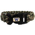 Washington Huskies Camo Survivor Bracelet - Our functional and fashionable Washington Huskies camo survivor bracelets contain 2 individual 300lb test paracord rated cords that are each 5 feet long. The camo cords can be pulled apart to be used in any number of emergencies and look great while worn. The bracelet features a team emblem on the clasp.  Thank you for shopping with CrazedOutSports.com