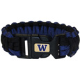 Washington Huskies Survivor Bracelet - Our functional and fashionable Washington Huskies survivor bracelets contain 2 individual 300lb test paracord rated cords that are each 5 feet long. The team colored cords can be pulled apart to be used in any number of emergencies and look great while worn. The bracelet features a team emblem on the clasp. Thank you for shopping with CrazedOutSports.com