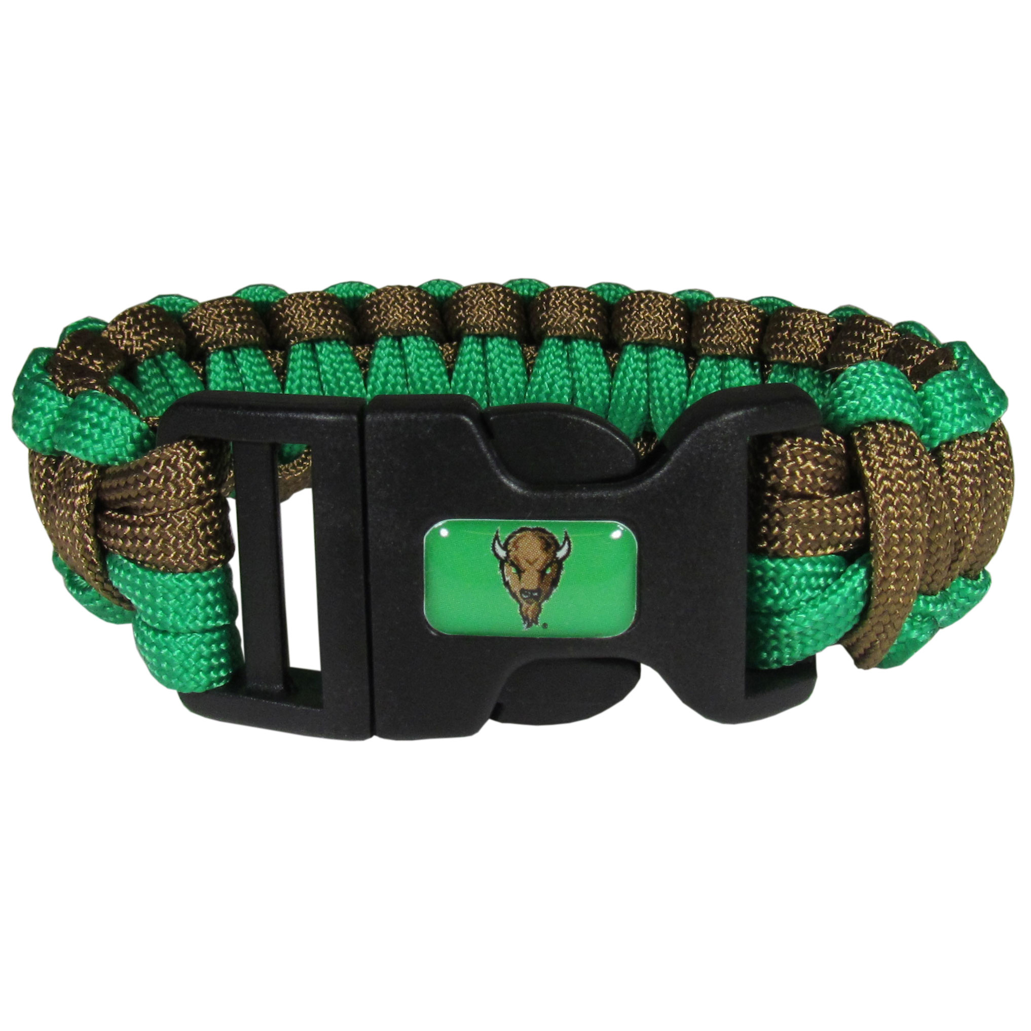 Marshall Thundering Herd Survivor Bracelet - Our functional and fashionable Marshall Thundering Herd survivor bracelets contain 2 individual 300lb test paracord rated cords that are each 5 feet long. The team colored cords can be pulled apart to be used in any number of emergencies and look great while worn. The bracelet features a team emblem on the clasp.
