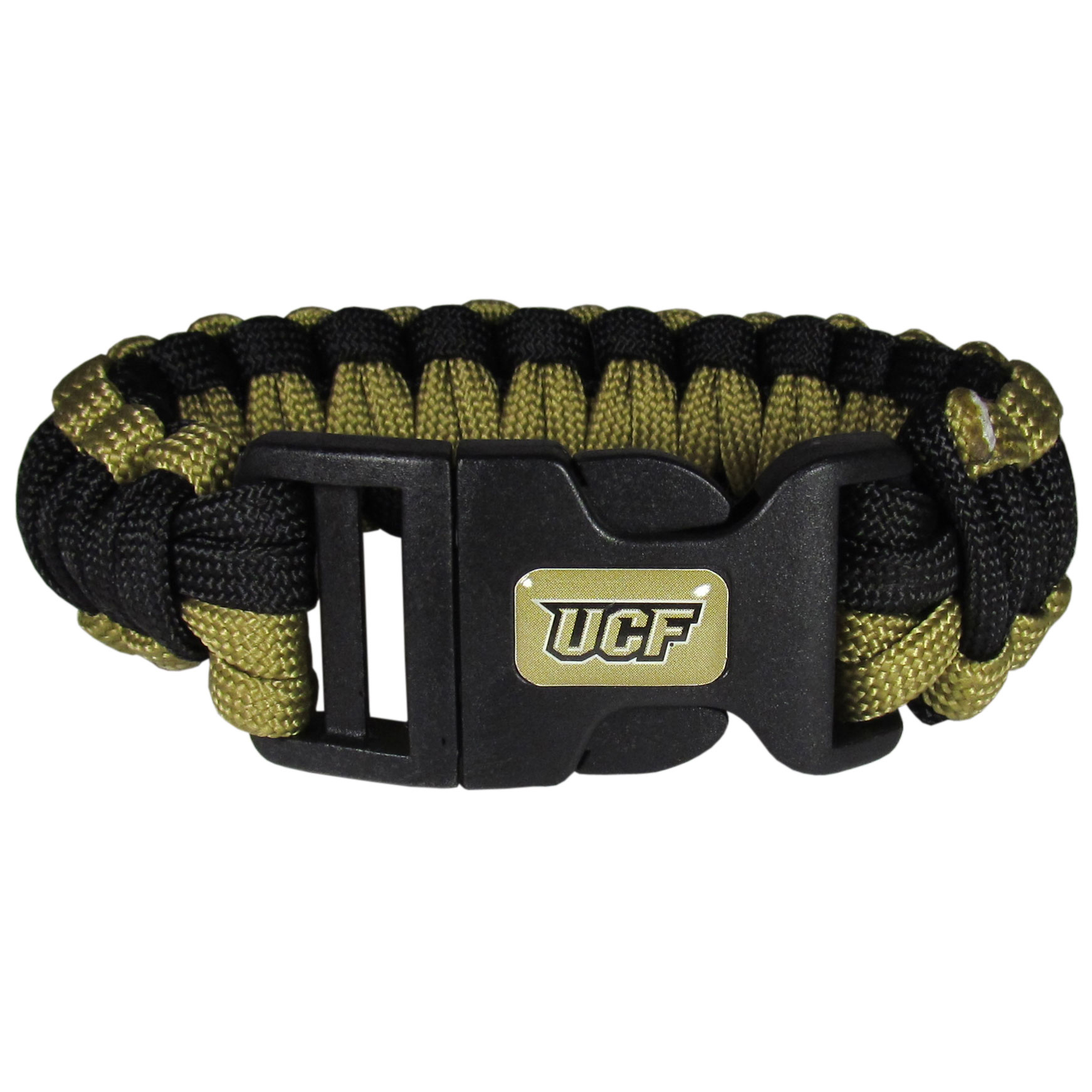 Central Florida Knights Survivor Bracelet - Our functional and fashionable Central Florida Knights survivor bracelets contain 2 individual 300lb test paracord rated cords that are each 5 feet long. The team colored cords can be pulled apart to be used in any number of emergencies and look great while worn. The bracelet features a team emblem on the clasp.