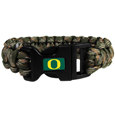 Oregon Ducks Camo Survivor Bracelet - Our functional and fashionable Oregon Ducks camo survivor bracelets contain 2 individual 300lb test paracord rated cords that are each 5 feet long. The camo cords can be pulled apart to be used in any number of emergencies and look great while worn. The bracelet features a team emblem on the clasp.  Thank you for shopping with CrazedOutSports.com
