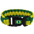 Oregon Ducks Survivor Bracelet - Our functional and fashionable Oregon Ducks survivor bracelets contain 2 individual 300lb test paracord rated cords that are each 5 feet long. The team colored cords can be pulled apart to be used in any number of emergencies and look great while worn. The bracelet features a team emblem on the clasp. Thank you for shopping with CrazedOutSports.com