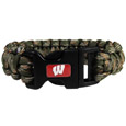 Wisconsin Badgers Camo Survivor Bracelet - Our functional and fashionable Wisconsin Badgers camo survivor bracelets contain 2 individual 300lb test paracord rated cords that are each 5 feet long. The camo cords can be pulled apart to be used in any number of emergencies and look great while worn. The bracelet features a team emblem on the clasp.