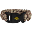Iowa Hawkeyes Camo Survivor Bracelet - Our functional and fashionable Iowa Hawkeyes camo survivor bracelets contain 2 individual 300lb test paracord rated cords that are each 5 feet long. The Iowa Hawkeyes Camo Survivor Bracelet camo cords can be pulled apart to be used in any number of emergencies and look great while worn. The bracelet features a team emblem on the clasp.  Thank you for shopping with CrazedOutSports.com
