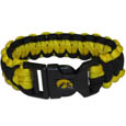 Iowa Hawkeyes Survivor Bracelet - Our functional and fashionable Iowa Hawkeyes survivor bracelets contain 2 individual 300lb test paracord rated cords that are each 5 feet long. The Iowa Hawkeyes Survivor Bracelet colored cords can be pulled apart to be used in any number of emergencies and look great while worn. The bracelet features a team emblem on the clasp. Thank you for shopping with CrazedOutSports.com
