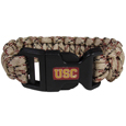 USC Trojans Camo Survivor Bracelet - Our functional and fashionable USC Trojans camo survivor bracelets contain 2 individual 300lb test paracord rated cords that are each 5 feet long. The camo cords can be pulled apart to be used in any number of emergencies and look great while worn. The bracelet features a team emblem on the clasp.  Thank you for shopping with CrazedOutSports.com